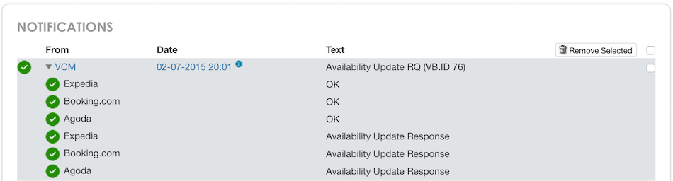 Availability Update Response OK
