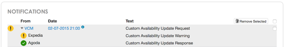 Custom Availability Update Warning